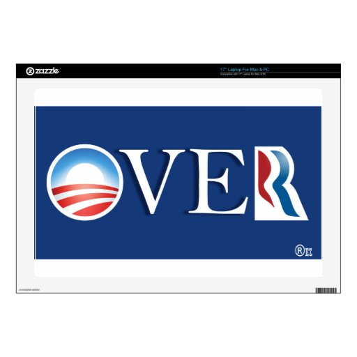 "Obama ""over"" Romeny Decal For 17"" Laptop"