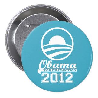 OBAMA para el botón 2012 (aguamarina) de la Pin Redondo De 3 Pulgadas