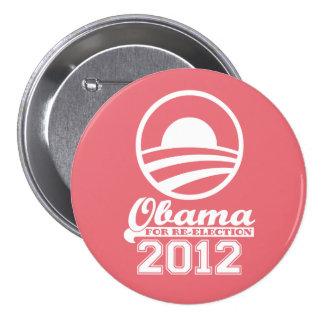 OBAMA para el botón 2012 (coral) de la campaña de Pin Redondo De 3 Pulgadas