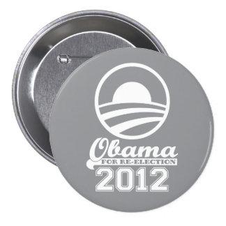 OBAMA para el botón 2012 (gris) de la campaña de Pin Redondo De 3 Pulgadas