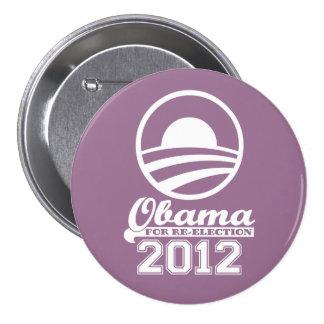 OBAMA para el botón 2012 (lila) de la campaña de Pin Redondo De 3 Pulgadas