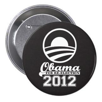OBAMA para el botón 2012 (negro) de la campaña de Pin Redondo De 3 Pulgadas
