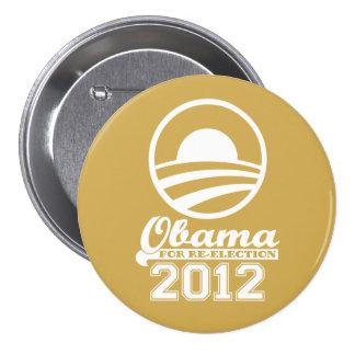 OBAMA para el botón 2012 (oro) de la campaña de Pin Redondo De 3 Pulgadas