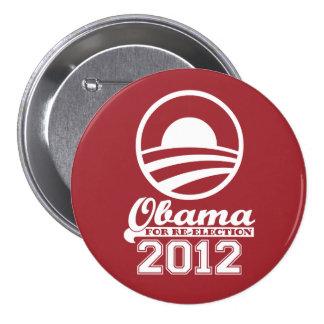 OBAMA para el botón 2012 (rojo) de la campaña de Pin Redondo De 3 Pulgadas