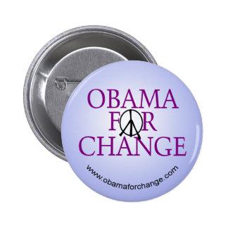 Obama para el botón de la campaña del cambio pin redondo de 2 pulgadas