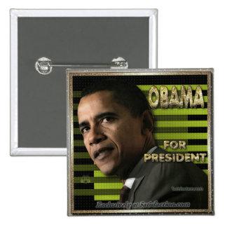 Obama para el prez pin cuadrada 5 cm