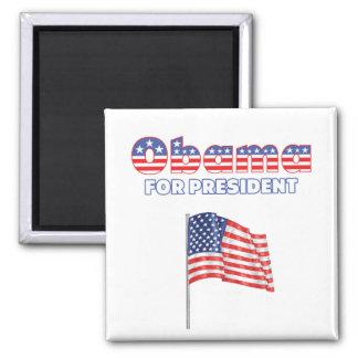 Obama para la bandera americana de presidente Patr Imán Cuadrado