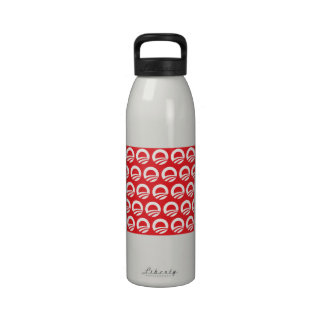 OBAMA PATTERN RED AND WHITE - png Reusable Water Bottles