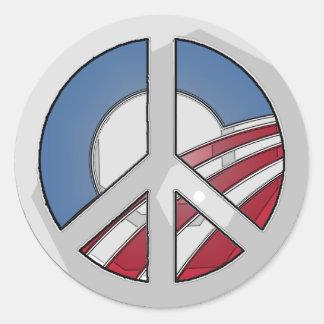 Obama Peace Sign Classic Round Sticker