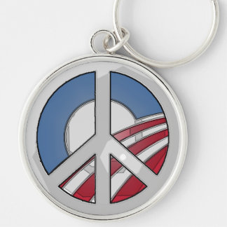 Obama Peace Sign Silver-Colored Round Keychain