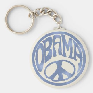 Obama Peace Stamp Basic Round Button Keychain