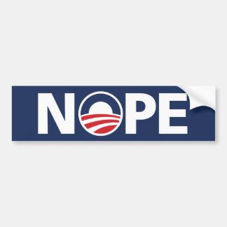 """Obama, pegatina para el parachoques de """"NOPE"""" Pegatina Para Auto"""
