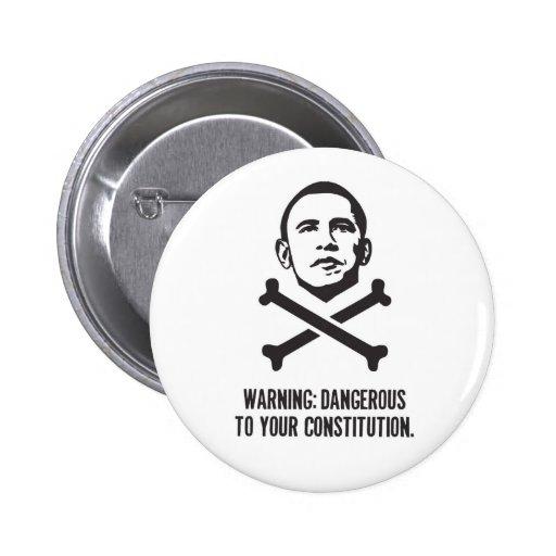 Obama: Peligroso a su botón de la constitución Pins
