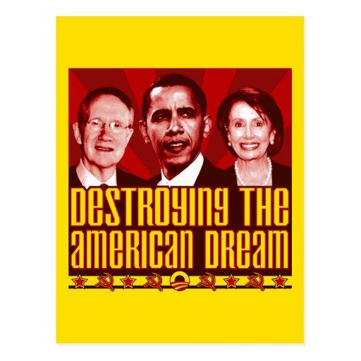 Obama Pelosi Reid - Destroying the American Dream Postcard