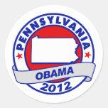 Obama - Pennsylvania Pegatina Redonda