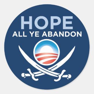 Obama Pirate - Hope All Ye Abandon Classic Round Sticker