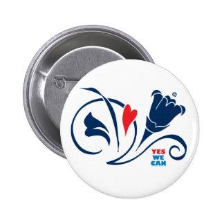 Obama - podemos sí, botón de los flores del amor,  pin