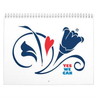 Obama - podemos sí, calendario de los flores 2009