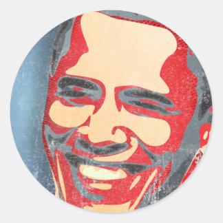 Obama - podemos sí pegatina redonda