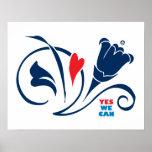 Obama - podemos sí, poster de los flores del amor