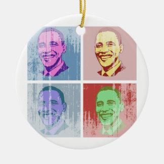Obama Pop Art Vintage.png Double-Sided Ceramic Round Christmas Ornament