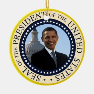 Obama Portrait in Official Presidential Seal Ceramic Ornament
