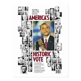 Obama Postal histórica del voto de América