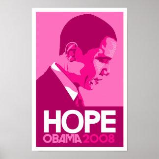 Obama - poster rosado oscuro de la esperanza