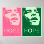 Obama - poster rosado y verde de la nueva esperanz