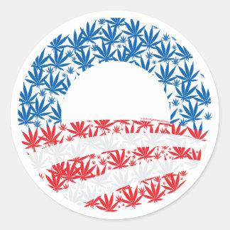 Obama Pot Leaf Symbol Classic Round Sticker