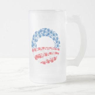 Obama Pot Leaf Symbol 16 Oz Frosted Glass Beer Mug