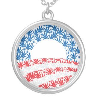 Obama Pot Leaf Symbol Round Pendant Necklace