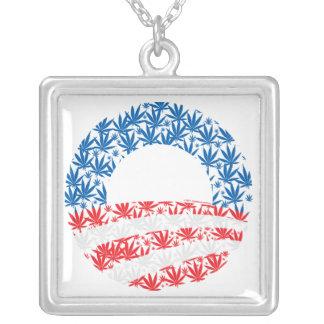 Obama Pot Leaf Symbol Square Pendant Necklace