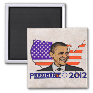 OBAMA PRESIDENT 2012 ELECTION 2 INCH SQUARE MAGNET