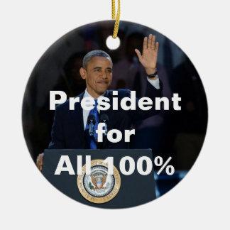 Obama: President for All 100% Christmas Ornament