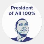 Obama: Presidente de los pegatinas del 100% Pegatina Redonda
