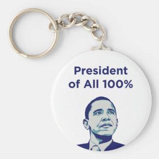 Obama: Presidente del 100% Llavero Redondo Tipo Pin