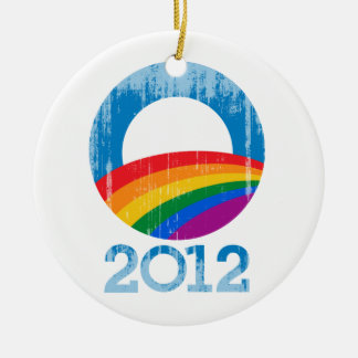 Obama Pride Double-Sided Ceramic Round Christmas Ornament