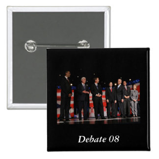 Obama-Primer discusión Pin Cuadrado