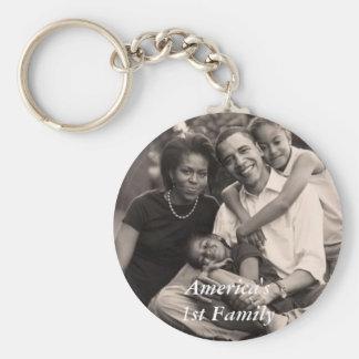 Obama-Primera familia Llavero Redondo Tipo Pin