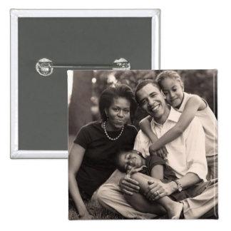 Obama-Primera familia Pin Cuadrado