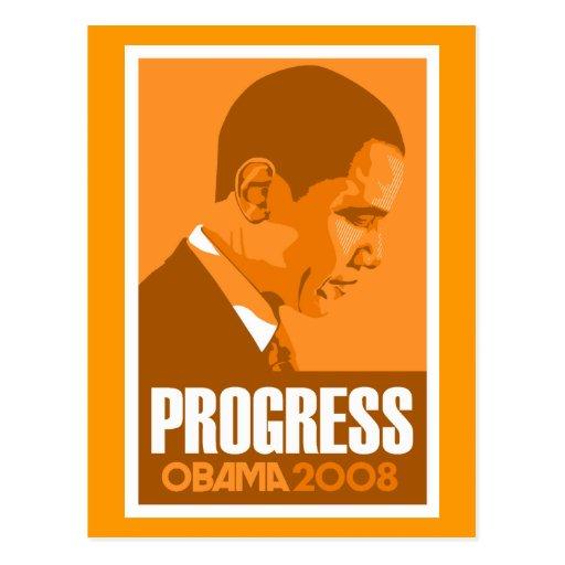 Obama - Progress Dark Orange Postcard
