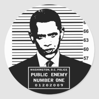 Obama - Public Enemy Number One Classic Round Sticker