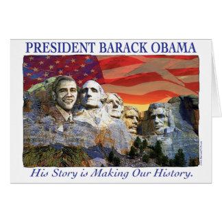 Obama que hace la tarjeta del monte Rushmore de la