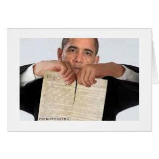 Obama que rasga para arriba la constitución tarjetas