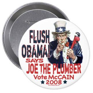 Obama rasante Joe el botón del fontanero Pin Redondo De 4 Pulgadas
