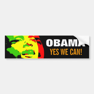 Obama Rasta 3-Color Stencil Bumper Sticker