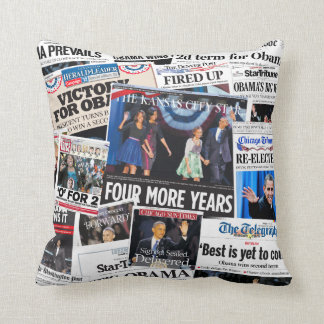 Obama Re-Elected Newspaper Collage Pillow