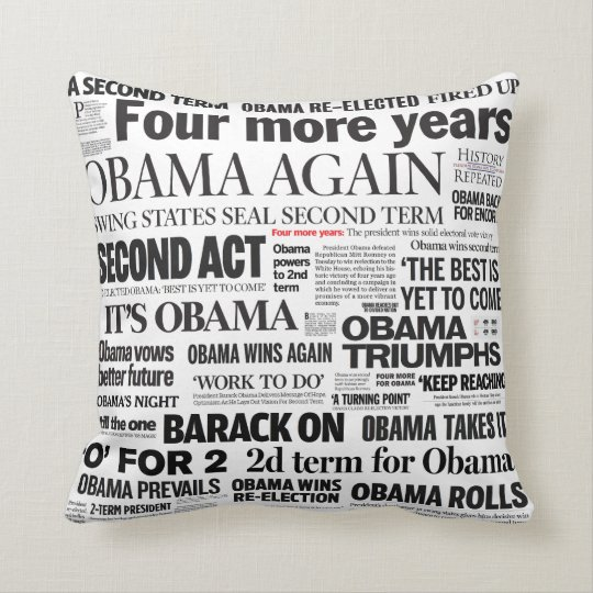 Obama Re-Elected Newspaper Headline Collage Pillow
