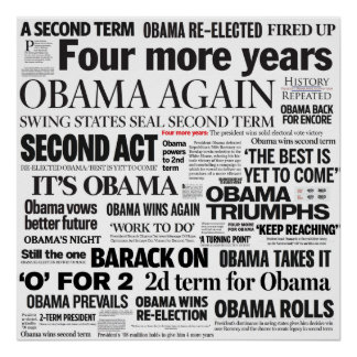 Obama Re-Election Headline Poster
